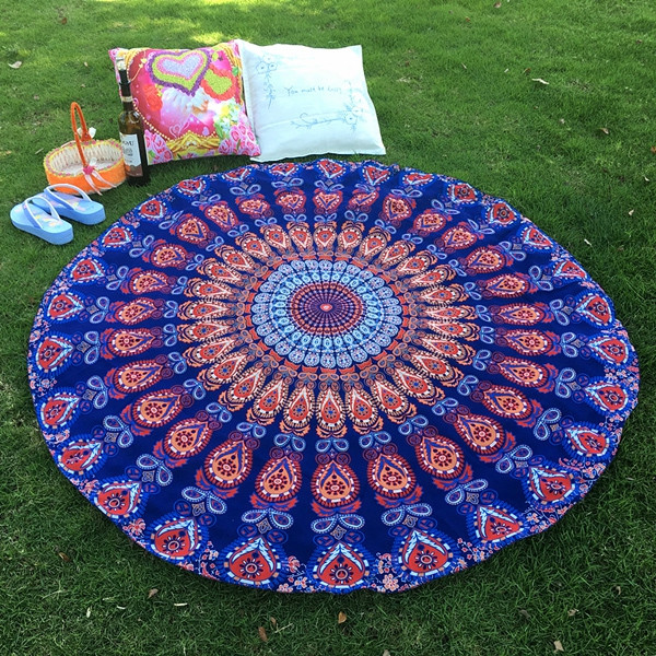 Mandala Feather Totem Chiffon Round Beach Throw DEEP BLUE ONE SIZE