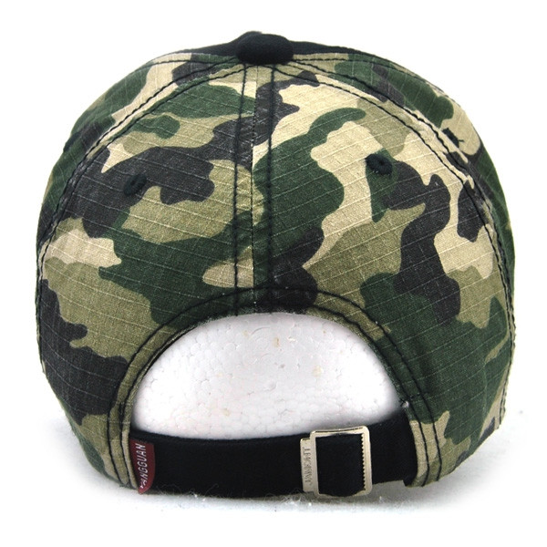 Camouflage Letters Embroidery Spliced Baseball Hat BLACK