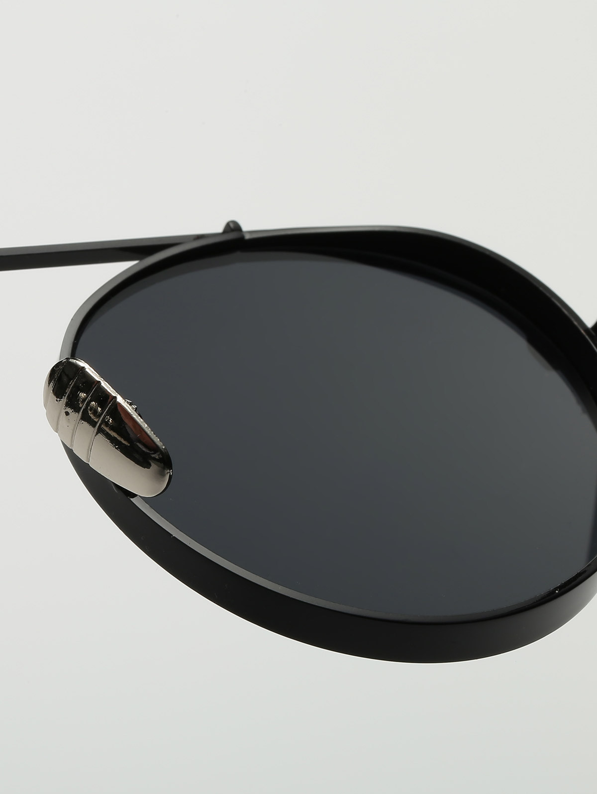 Round Chunky Frame Metal Sunglasses BLACK