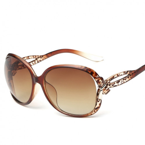 Chic Small Bow Embellished Leopard Pattern Ombre Sunglasses For Women TEA-COLORED