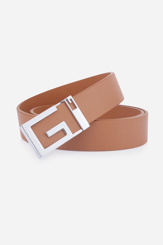 Stylish Letter G Shape Buckle Casual PU Belt For Men CAMEL