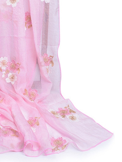 Fresh Floral Decorative Silky Long Scarf PIG PINK