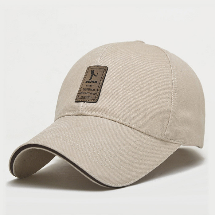 Men Adjustable Sun Baseball Hat Cotton Solid Color  for Outdoor Sports OFF-WHITE
