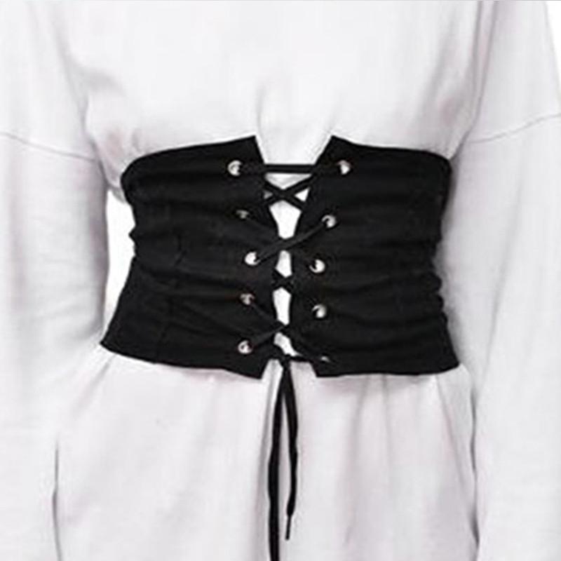 Womens Lace Tie Up Denim Wide Corset High Abdominal Shaping Waist Belt UK New BLACK XL