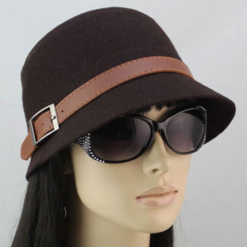 Chic Brown Belt Decorated Solid Color Hat For Women COLOR ASSORTED