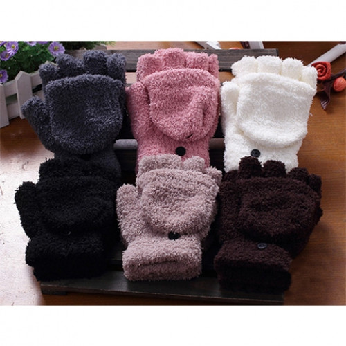 Pair Of Sweet Cashmere Hooded Winter Gloves With Exposed Fingers For Women  COLOR ASSORTED