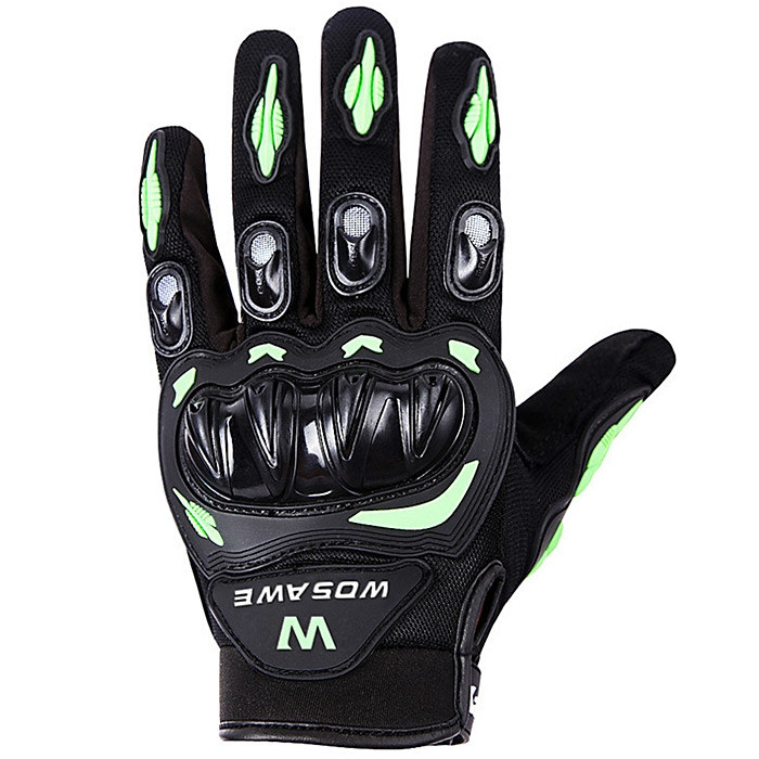 WOSAWE BST-015 Men Women Polyester Fiber Full Finger Motorcycle Glove Motorbike Motocross Breathability Protective Gears BLACK AND GREEN M