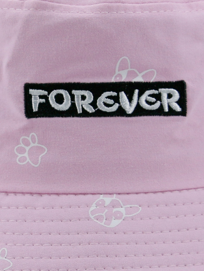 Letters Embroidery Cartoon Pattern Bucket Hat PINK
