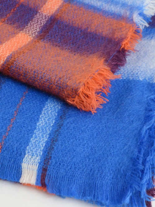 Color Blocking Checked Wool Blended Square Scarf ROYAL