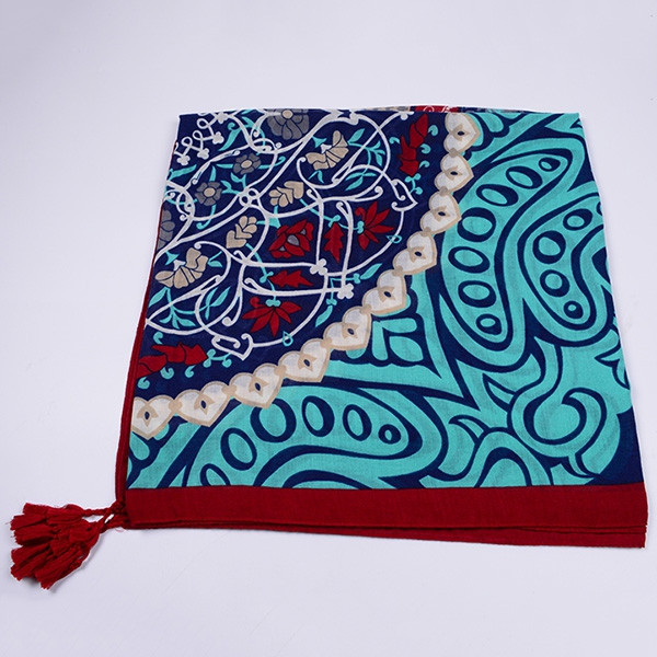 Retro Ethnic Floral Totem Printed Tassels Scarf LAKE BLUE