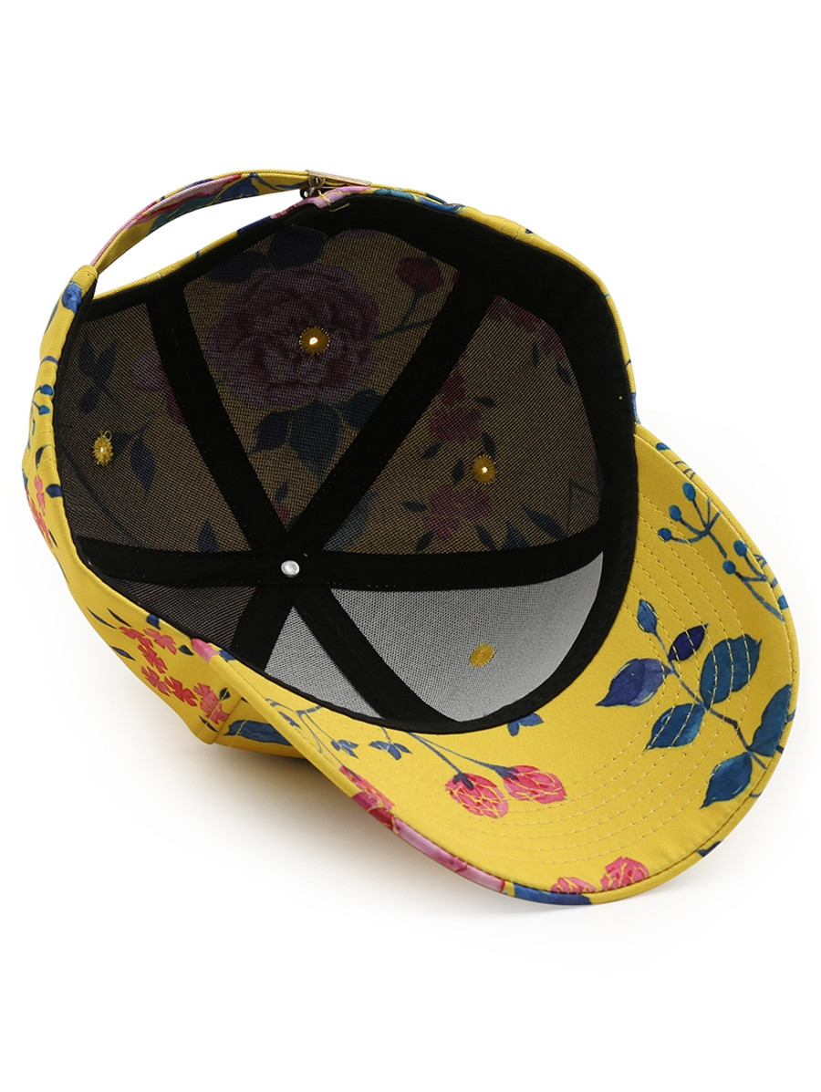 Outdoor Foral Pattern Baseball Hat  YELLOW