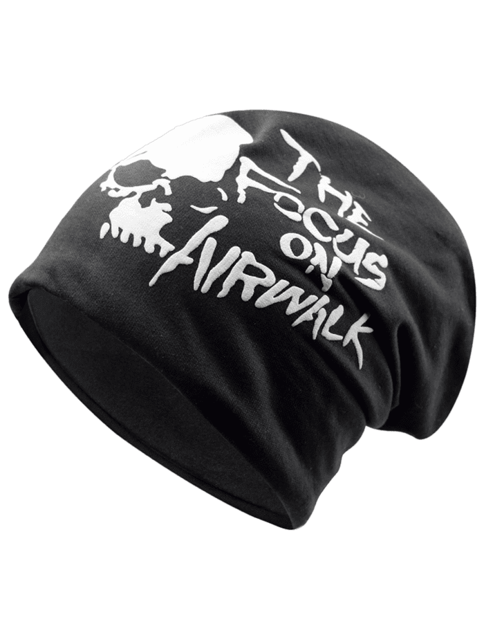 Outdoor Skull and Letter Pattern Two Layers Lightweight Beanie BLACK