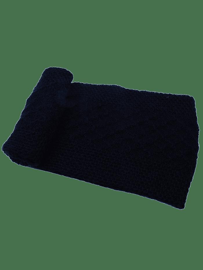 Vintage Rhombus Pattern Crochet Knitted Scarf  BLACK