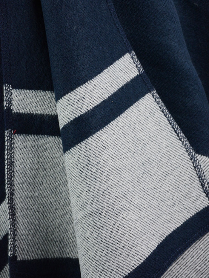 Vintage Striped Pattern Embellished Artificial Wool Shawl Scarf  CADETBLUE ONE SIZE