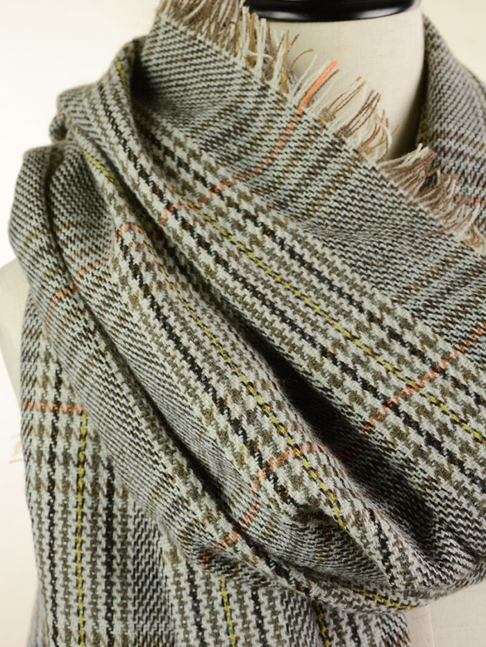 Vintage Plaid Pattern Artificial Wool Fringed Long Scarf  FEATHER GRAY