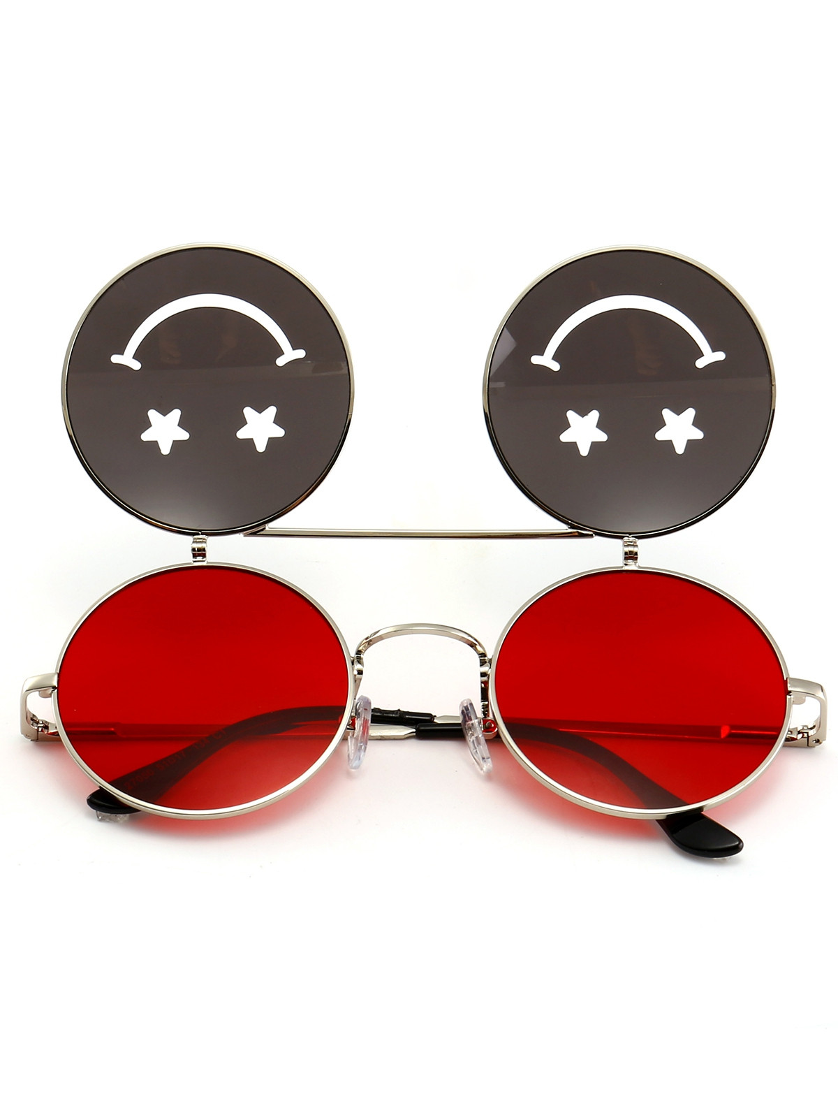 Funny Smiling Face Flip-open Round Shape Sunglasses RED