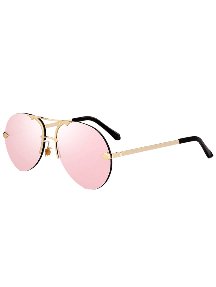 Rimless Alloy Panel Pilot Sunglasses PINK