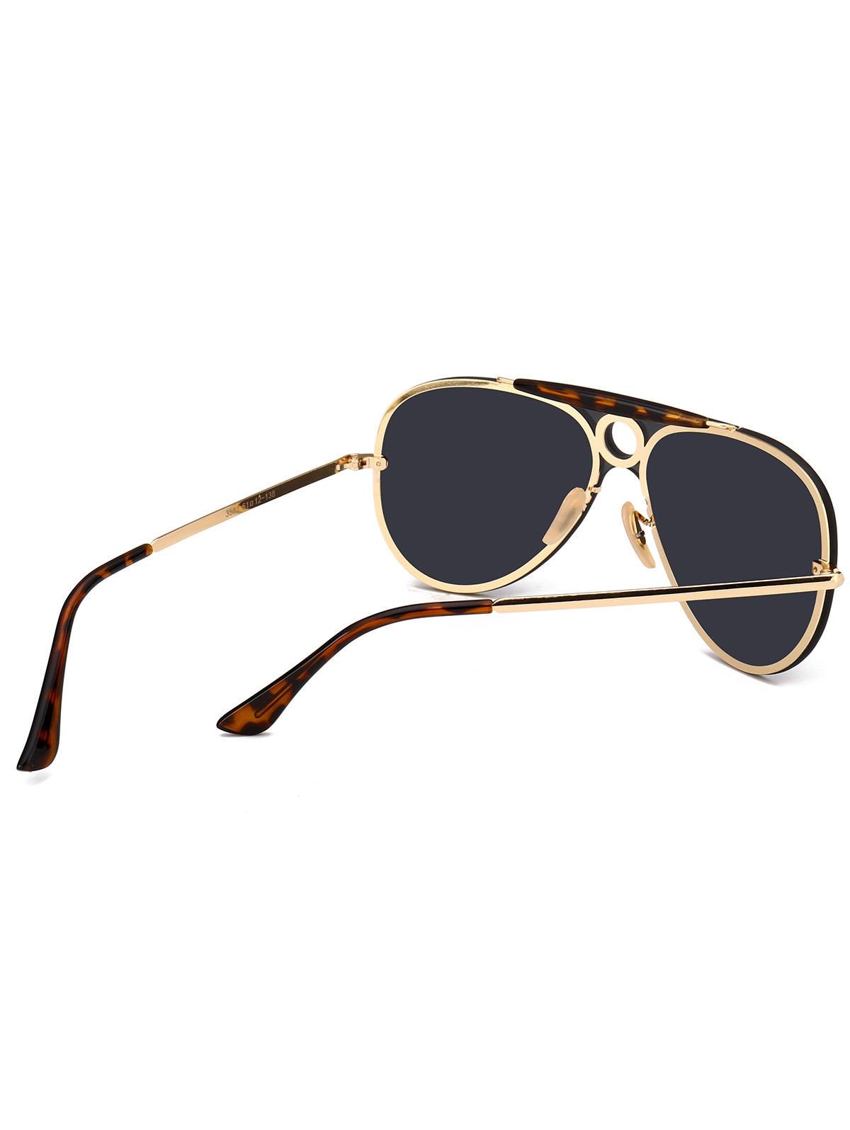 Leopard Bar Hollow Round Pilot Shield Sunglasses BLACK