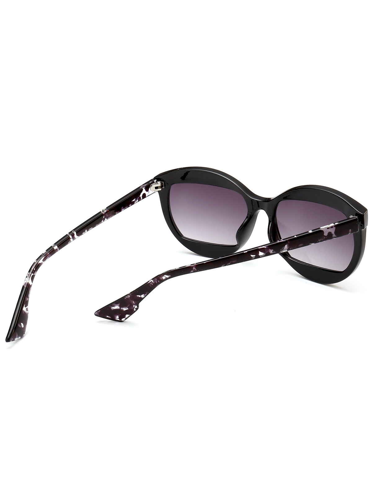 Eyebrow Embellished Cat Eye Sunglasses BLACK