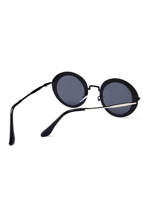 Outdoor Metal Frame Full Rim Round Sunglasses DARK GREY