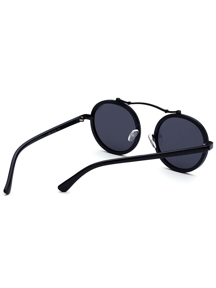 Metallic Double Rims Rounded Mirror Sunglasses DOUBLE BLACK
