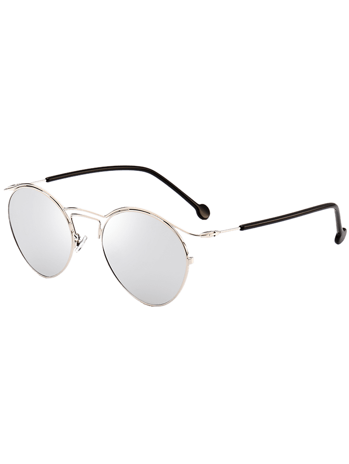 Retro Metal Pilot Shades Sunglasses SILVER FRAME + WHITE LENS