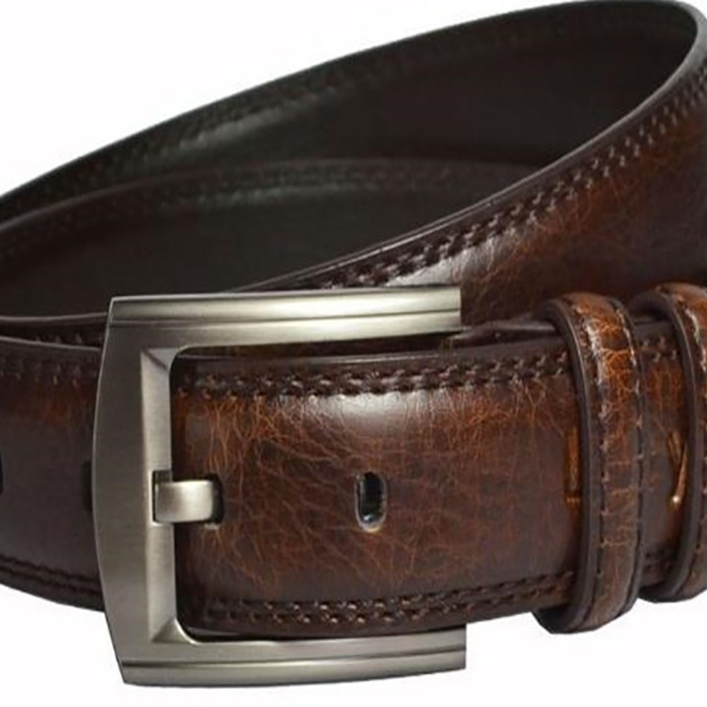 Pin Buckle Man Leather Belt BROWN 115CM