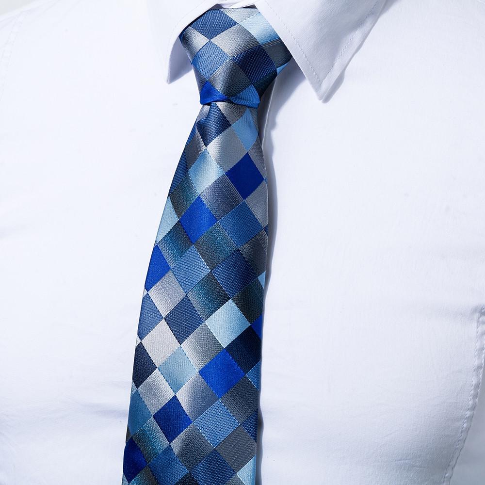 Fashion Men's Accessories Business Necktie Rhombus Lattice All Match Classic Tie BLUE