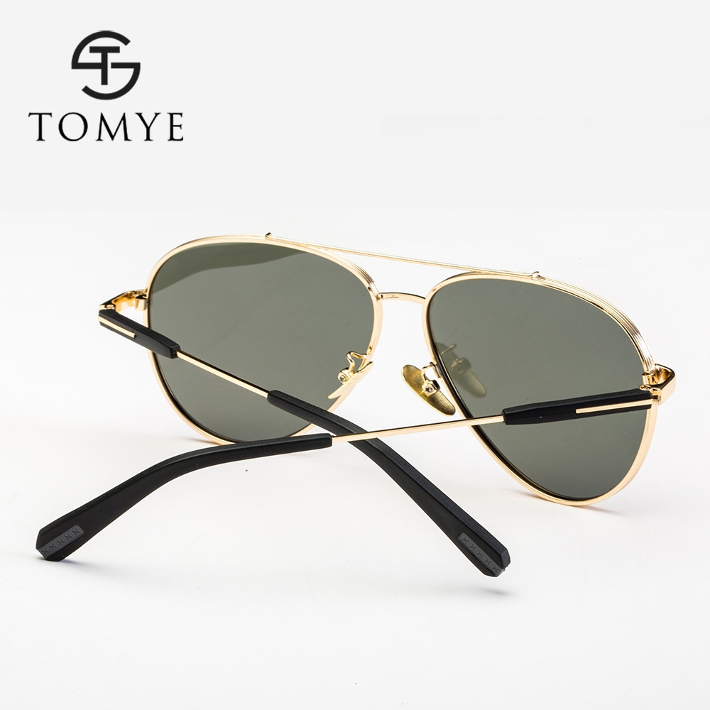 TOMYE 9522 Fashion Aviator HD Polarized Sunglasses for Man and Women GOLDEN+PURPLE