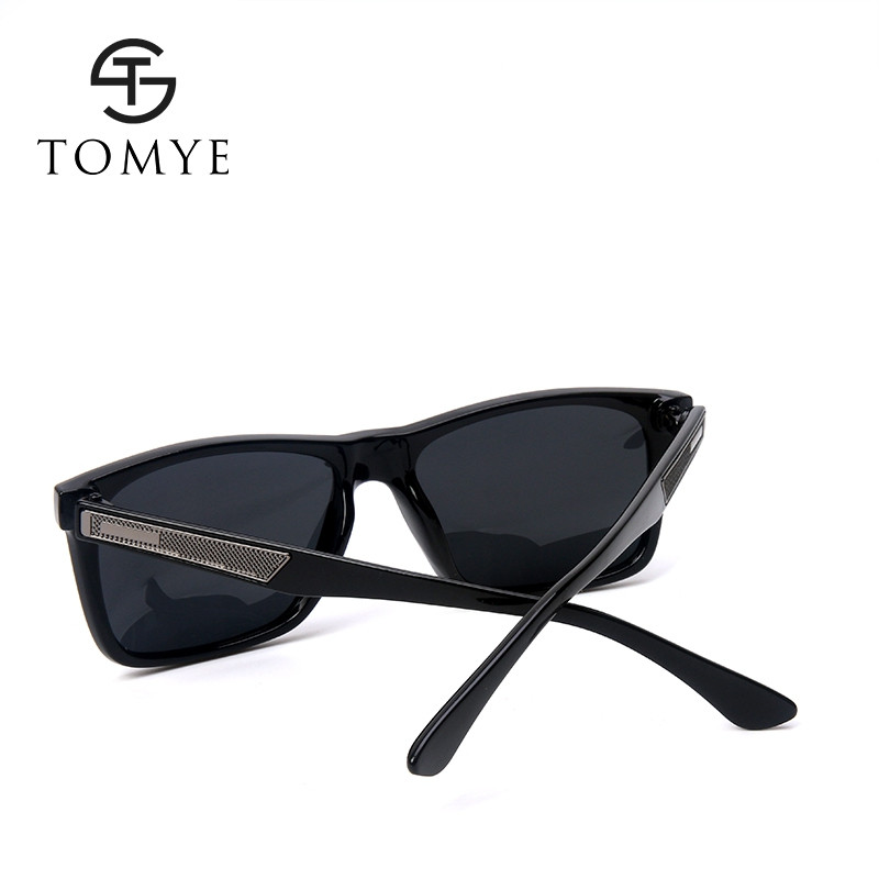 TOMYE P106 Fashion Men's Polarized Sunglasses BRIGHT BLACK+GREY