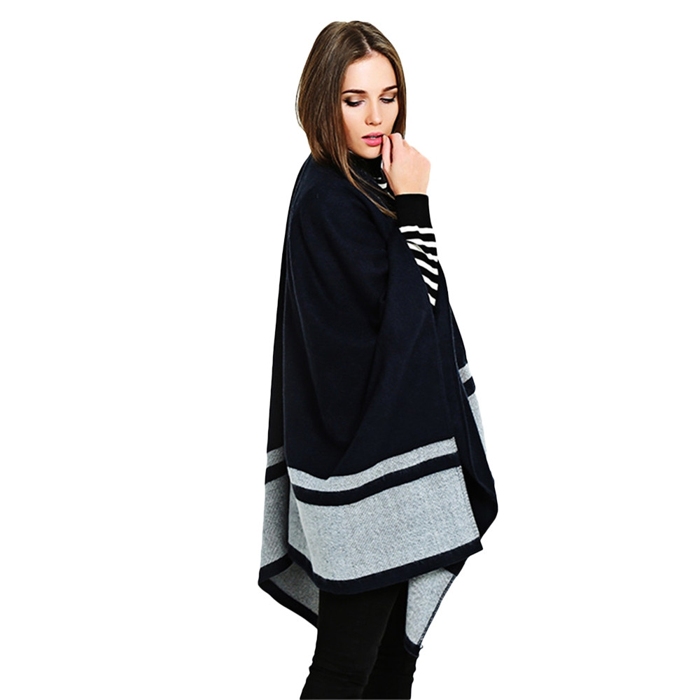 Double Blue Striped Scarf Shawl thickened BLUE GRAY