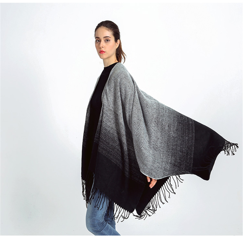 Black ash gradually discoloration of the ancient fringed Scarf Shawl DARK GREY