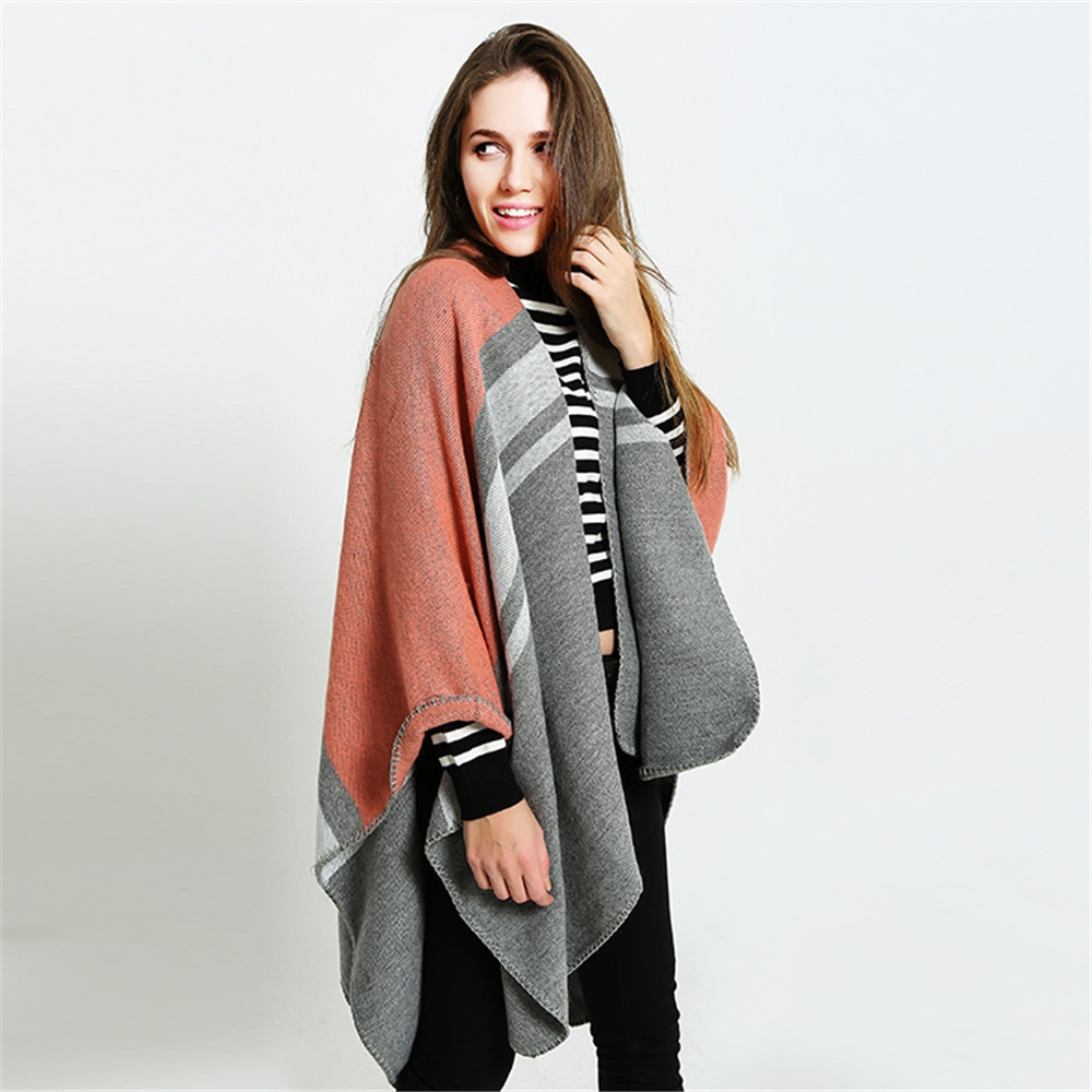 Pure color striped two sided tassel like cashmere shawl ORANGEPINK