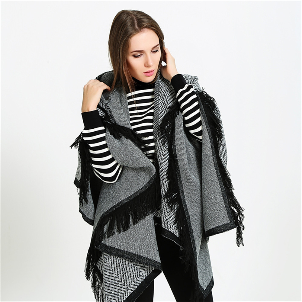 Hooded cloak all-match thickened fringed Scarf Shawl GRAY