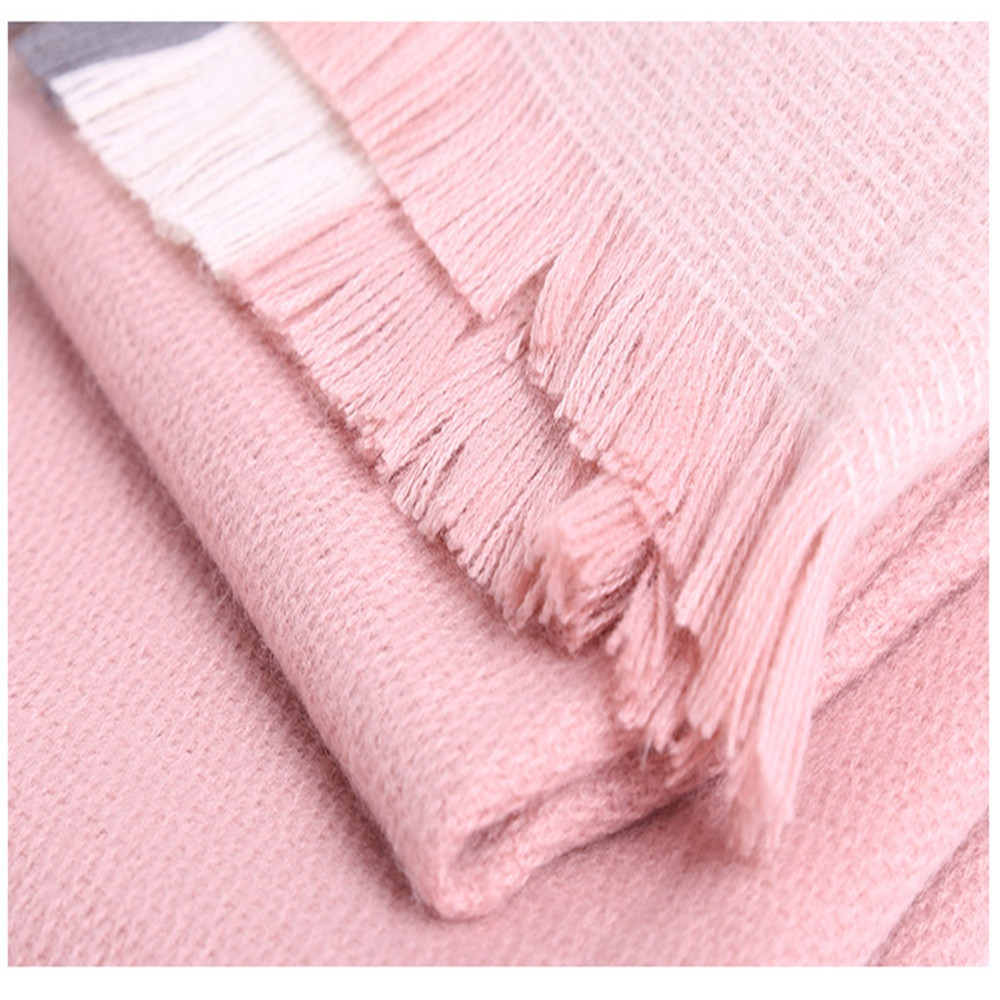 Plaid scarf like cashmere with thick warm scarf PINK