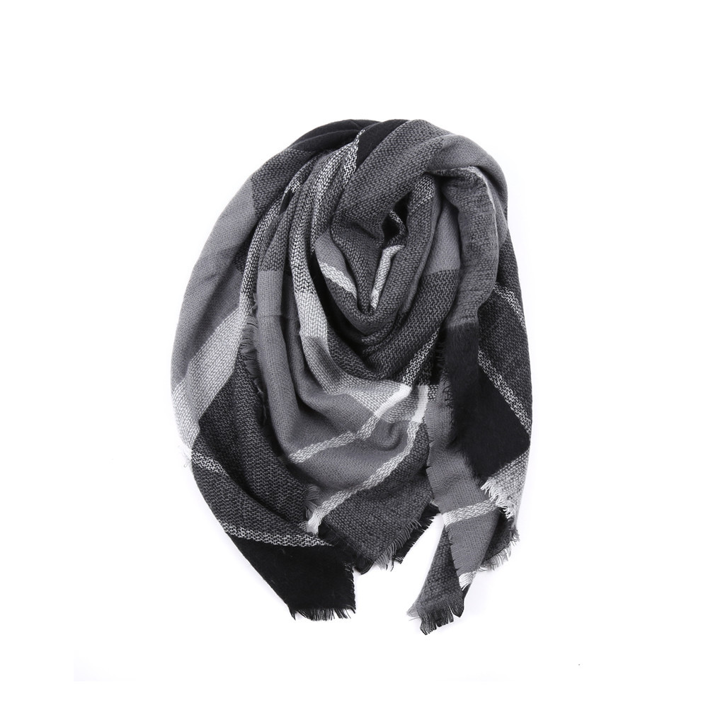 Salybaby Double Pane Printing Imitation Cashmere Scarf Shawl Scarves Thickened DARK GREY