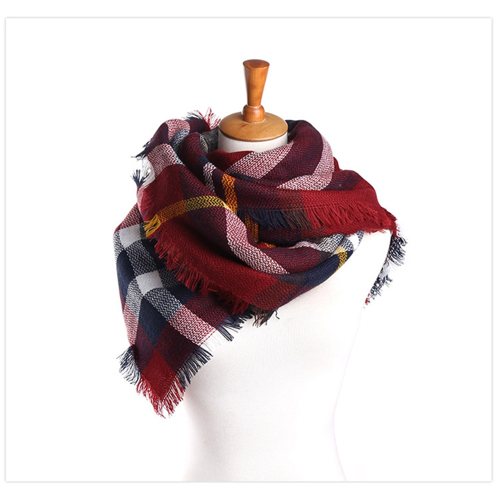 Coloured plaid like cashmere warm scarf BRIGHT RED