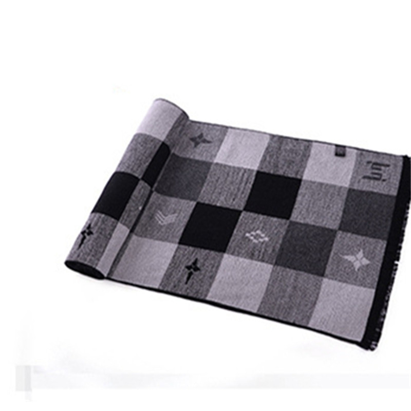 Men's Winter Warm Scarf Scarf Shawl Cashmere Tide GRAY BLACK 180CM