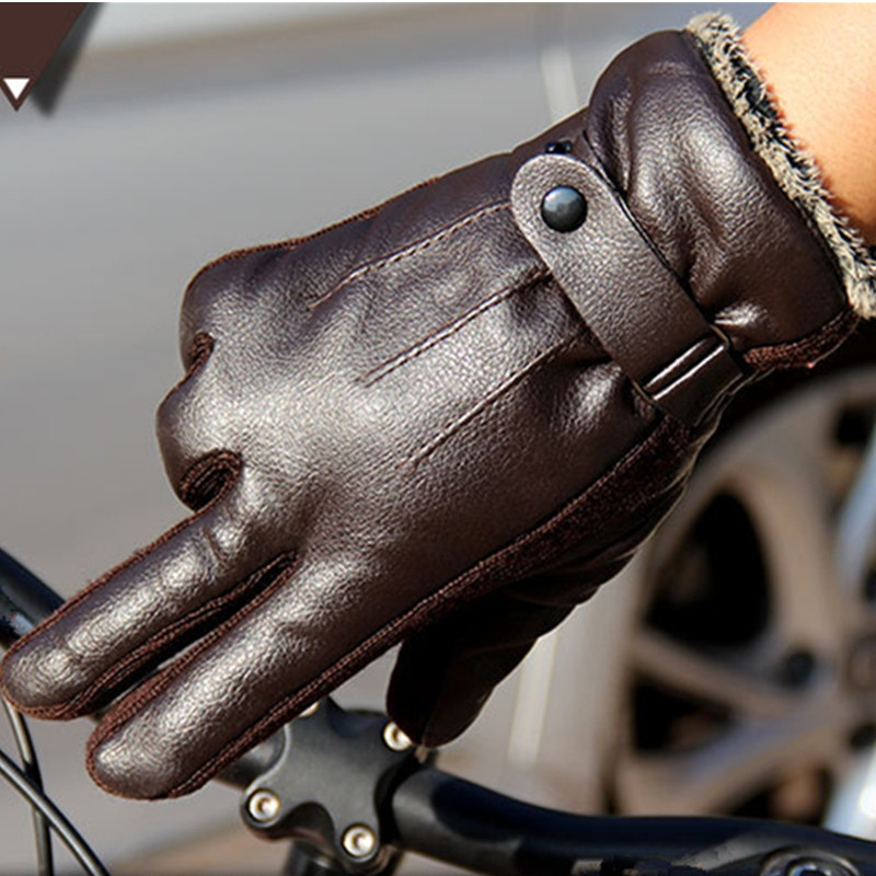 Autumn and Winter Men's PU Thickening Antiskid and Warm Glove Outdoor Cycling Electric Motorcycle Cotton COFFEE 26CM23CM10CM