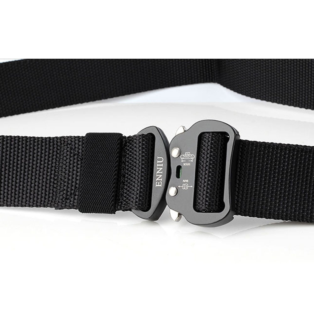 ENNIU Quick Dry Tactical Heavy Duty Waist Belt  Quick-Release Military Style Shooters Nylon Belts with Metal Buckle BLACK
