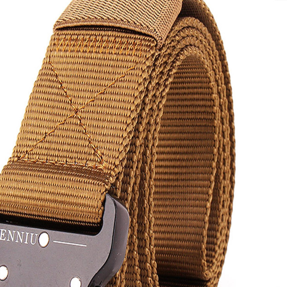 Outdoor Safety Belt Buckle Belt Training Speed Dry Pure Nylon Belt BROWN