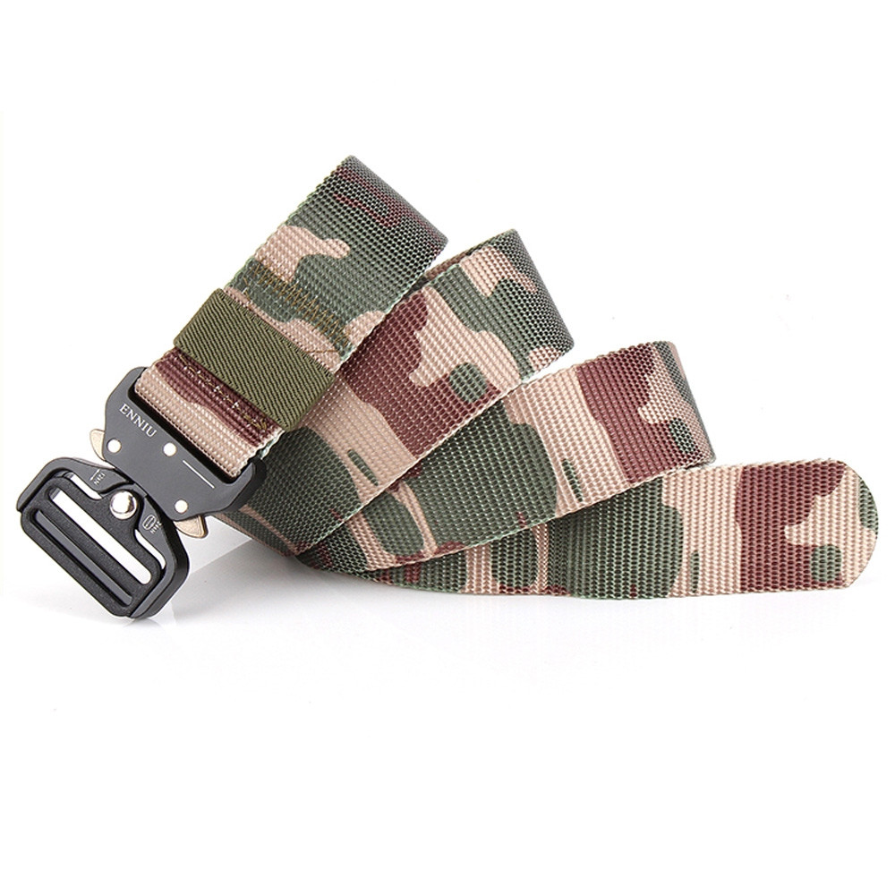 ENNIU Multi-Function Camouflage Tactical Belt Military Style Shooters Nylon Belt with Metal Buckle JUNGLE CAMOUFLAGE