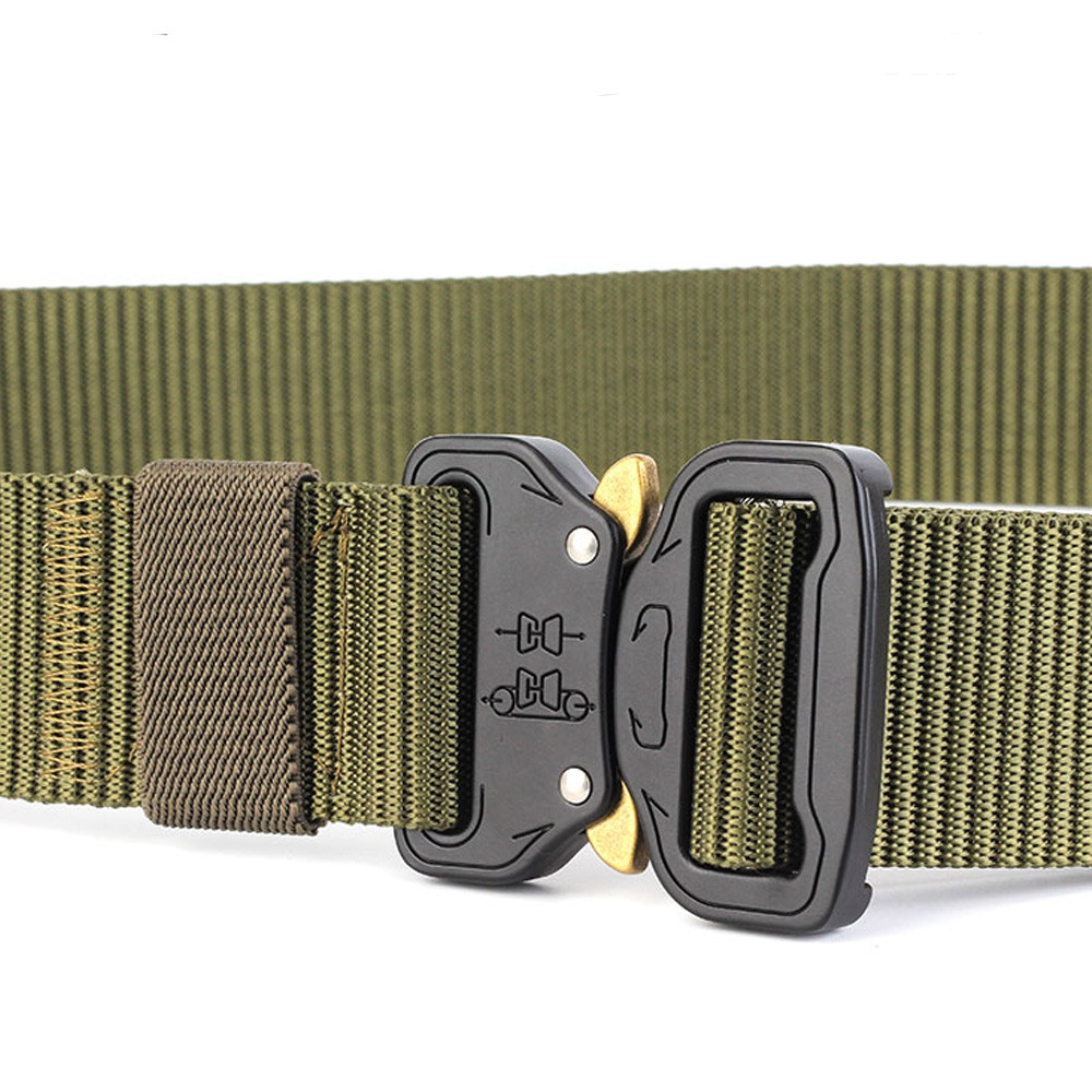 ENNIU Tactical Belt Heavy Duty Waist Belt Adjustable Military Style Nylon Belts with Metal Buckle ARMY GREEN