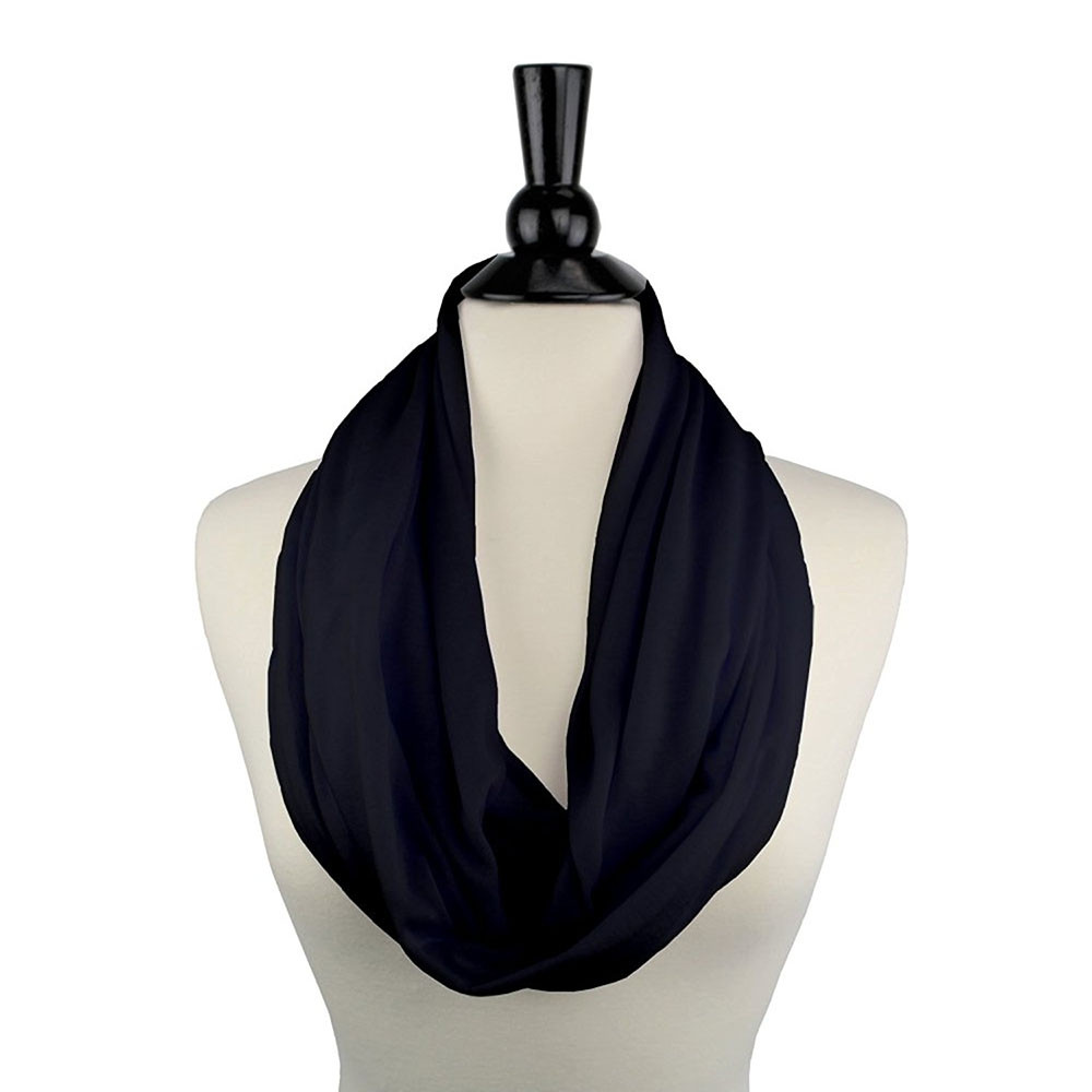 Solid Color Infinity Scarf Wrap with Pocket  BLACK