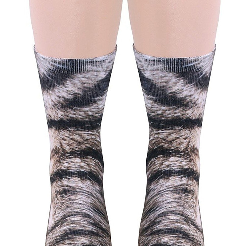 New Unisex Adult Animal Paw Crew Print Man/Women Socks CAT