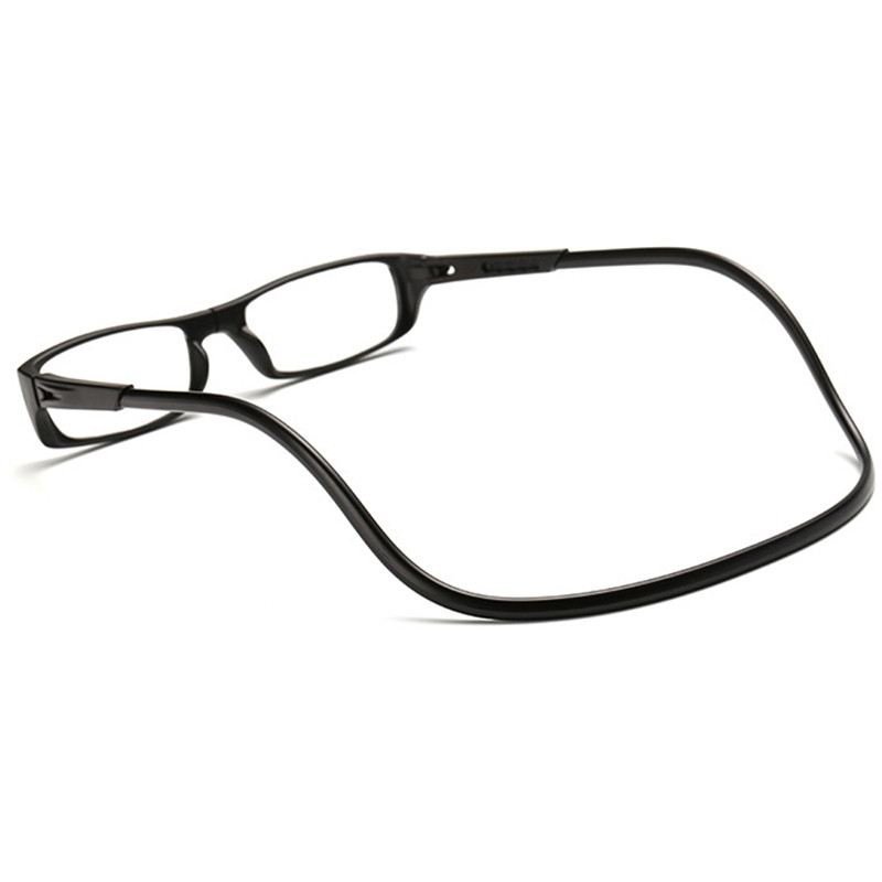 Men Women Reading Adjustable Hanging Neck Magnetic Front Presbyopic Glasses Degree BLACK STRENGTH-4.0