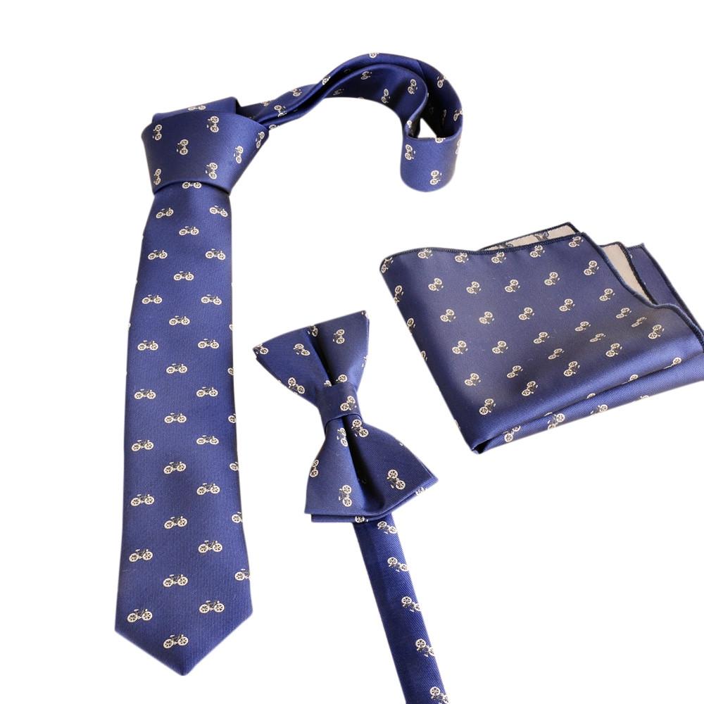 Navy Blue Polyester Necktie Bow-tie Pocket Hankie System NAVY BLUE