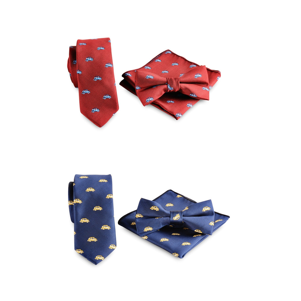 3PCS Stinky Polyester Necktie Bowtie Pocket Square RED