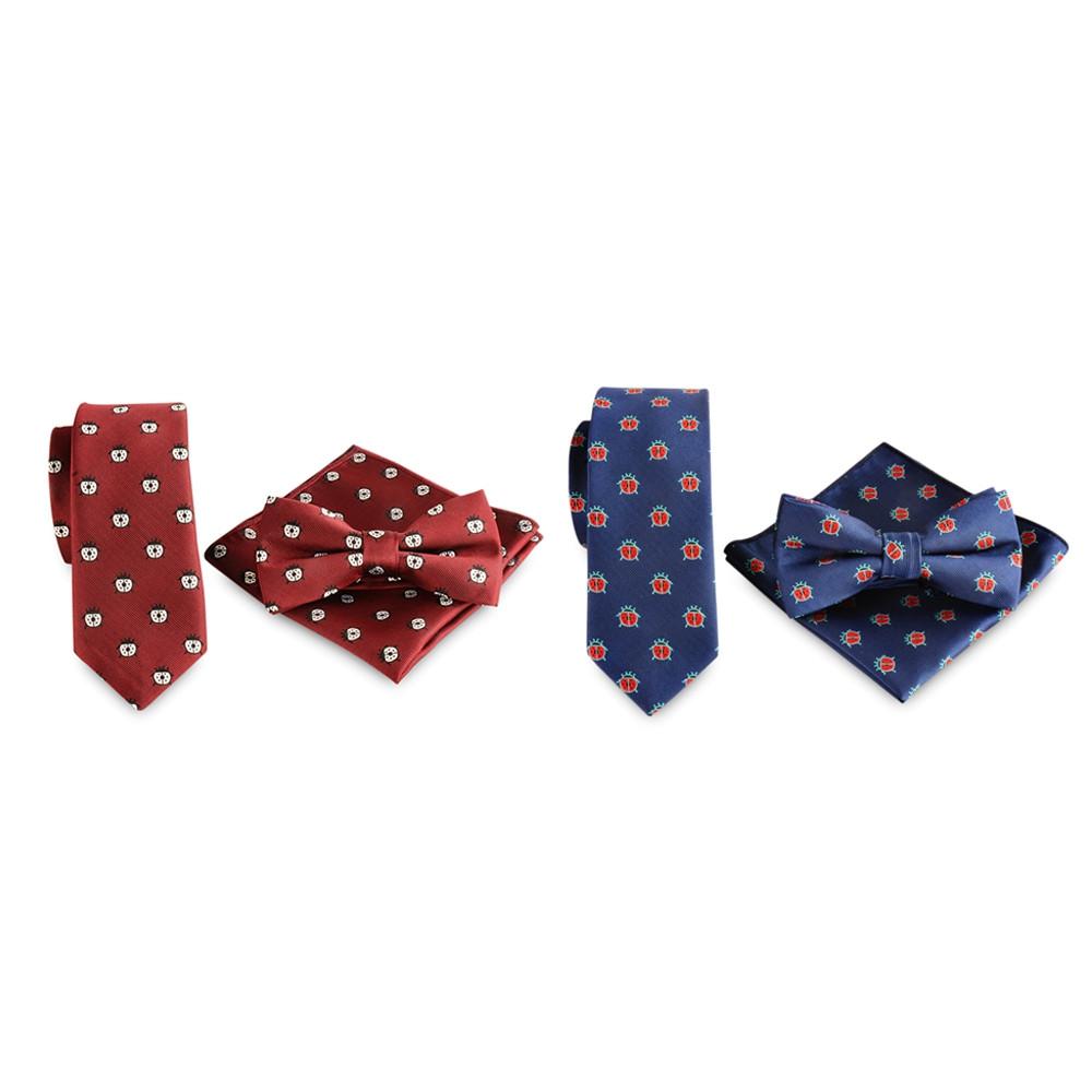 Ladybug Design 6cm Necktie Party Bow Tie Handkerchief Set RED WINE