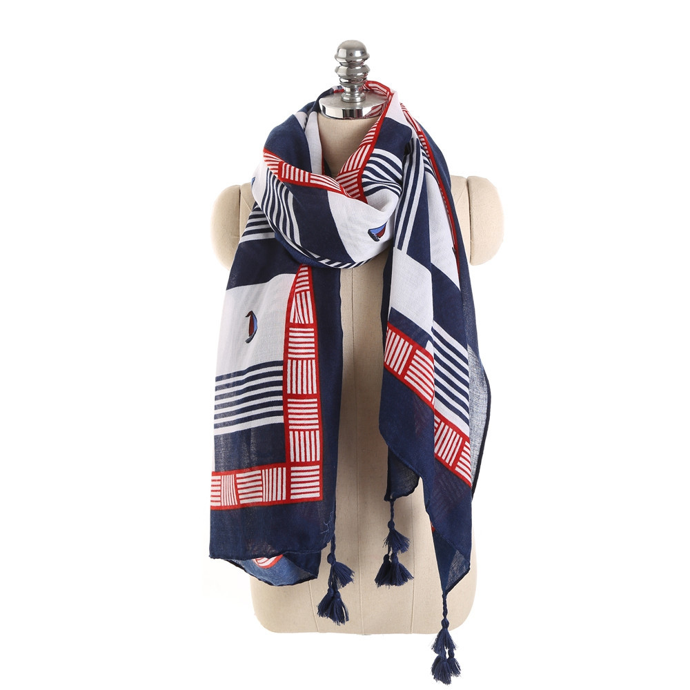 Lightweight Soft Fringes Scarf for Women Shawl Wrap BLUE